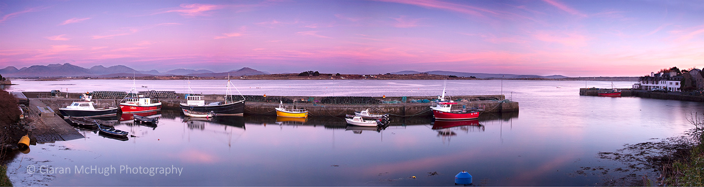 twilight at roundstone harbour